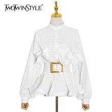 TWOTWINSTYLE – tunique coréenne à manches longues pour femmes, chemisier élégant avec ceinture à volants, Patchwork, à la mode, nouveau