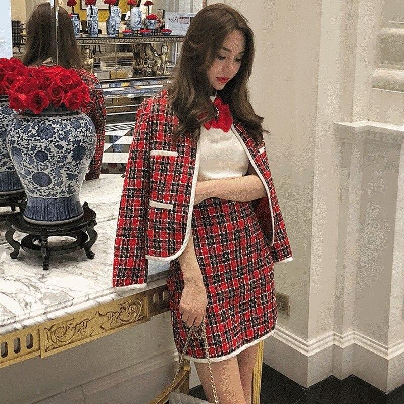 Ladies Autumn Winter Slim Fit Plaid Tweed 2Pcs Sets Long Sleeve Hidden Breasted Short Coats Bow Patchwork Sleeveless Vest Dress