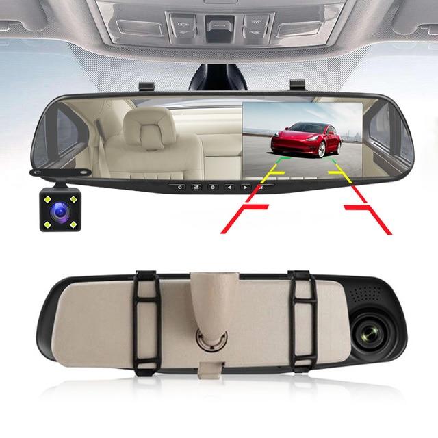 E-ACE Full HD 1080P voiture Dvr caméra Auto 4.3 pouces rétroviseur numérique enregistreur vidéo double lentille caméscope d'enregistrement 4