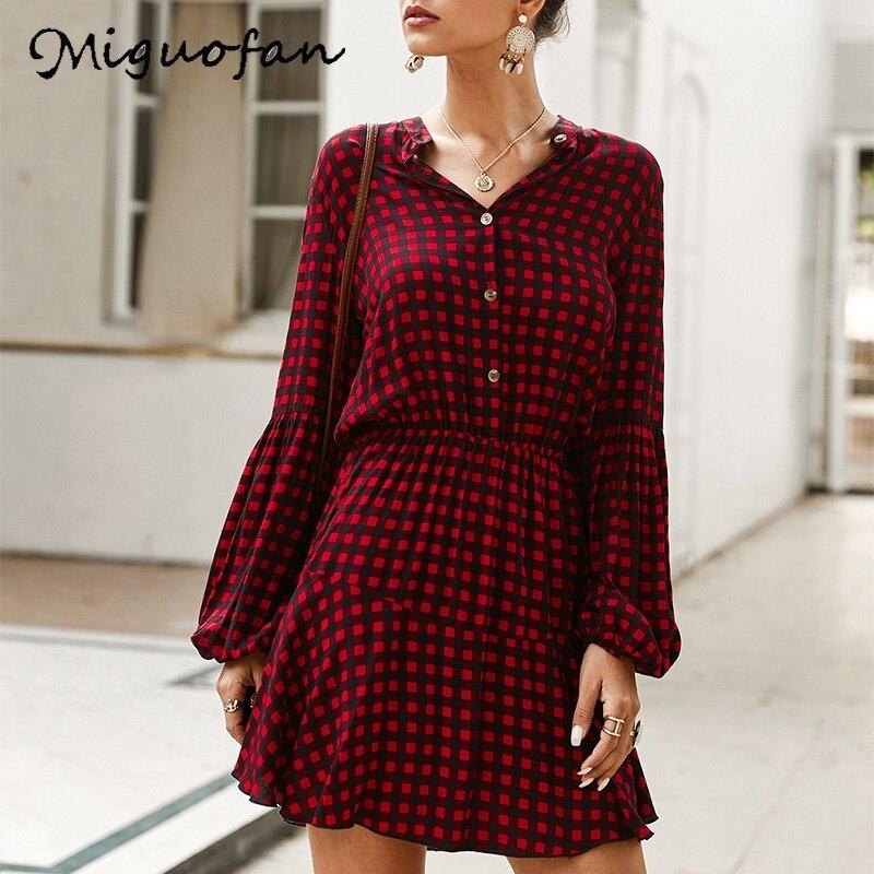Miguofan женские платья в клетку с принтом, винтажные платья-рубашки на пуговицах, весеннее повседневное платье, фонарь с длинным рукавом, высок...