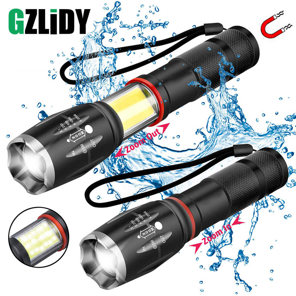 Multifunction Led Flashlight  Powerful T6 L2 Waterproof Zoom Torch COB Design Flashlight Tail Super Magnet Design Camping Lamp