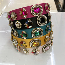 Baroque Big Coloed Rhinestone Headband Hairband for Women Girls Metal Beads Flower Head Hair Accessories