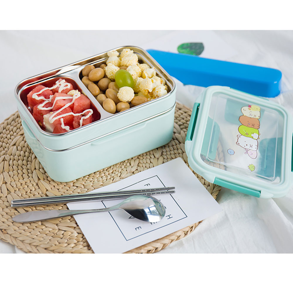 Lunch Box Insulation Cutlery Double Layer 304 Stainless Steel Durable Cartoon Food Container in Lunch Boxes from Home Garden