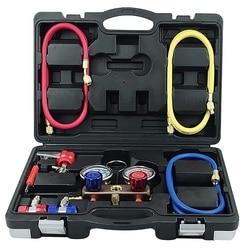 Samochód klimatyzacja fluorek miernik fluorek miernik ciśnienia czynnika chłodniczego samochód klimatyzacja fluorek zestaw narzędzi