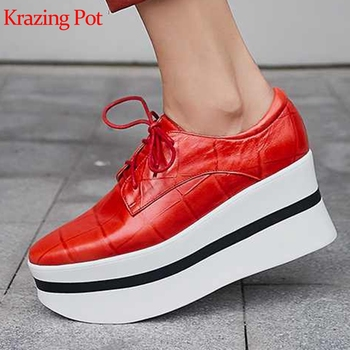 Krazing pot natural sheep leather lace up round toe waterproof high heel women sneakers casual solid color vulcanized shoes L15