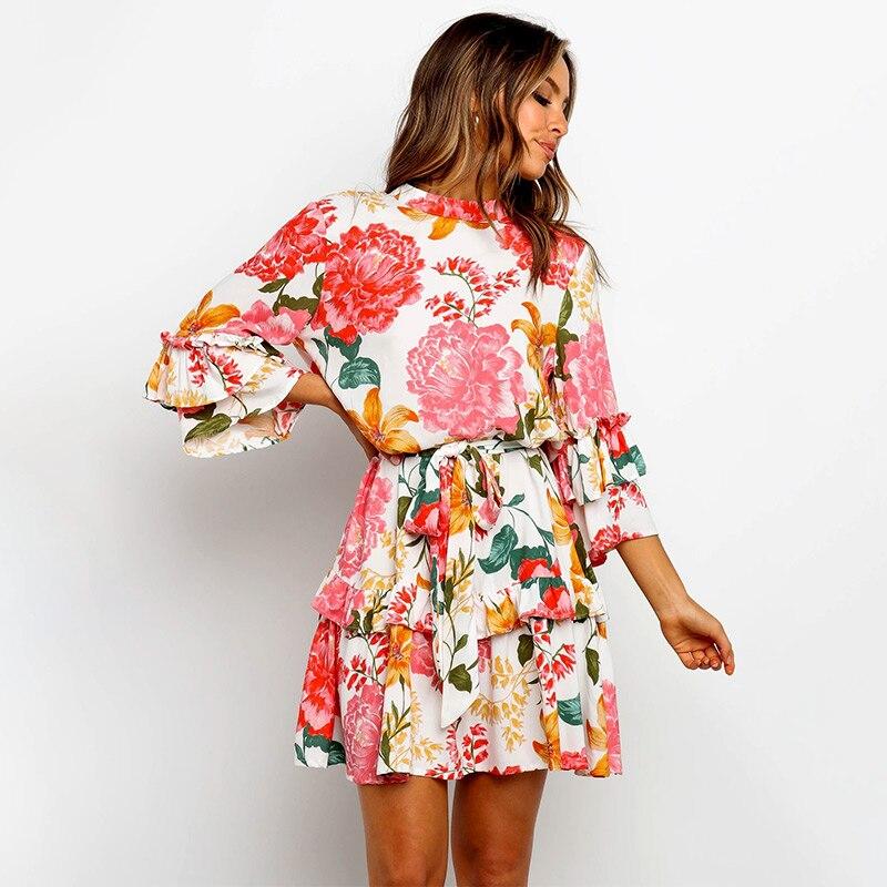 Женское платье с цветочным принтом, каскадные оборки, мини, высокая талия, а-силуэт, рукав три четверти, весна 2020, с поясом, элегантные женски...