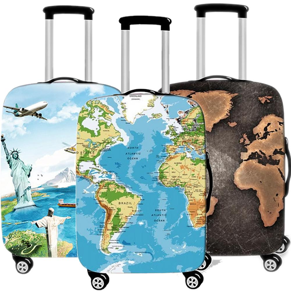 Travel Accessories Fashion World Map Luggage Case Protective Cover Waterproof Thicken Elastic Suitcase Trunk Case 18-32 Inch XL