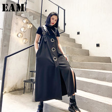 EAM – robe noire fendue sans manches, grande taille, coupe ample, tendance, nouvelle collection printemps été 2021, 1T768