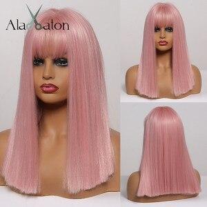 ALAN EATON розовые парики Bobo с челкой, Средние прямые синтетические парики для женщин и девочек, термостойкие волокна, вечерние парики для коспл...
