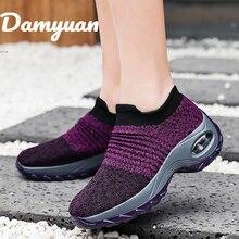 Damyuan 2019 New Fashion Air Cushioned Sock Shoes Heightening Women Casual Autumn Ladies Flat