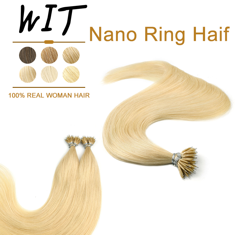 WIT Nano Ring Hair Extensions 16 20 24inches Straight machine remy Human Hair Keratina Pre-bonded Capsules Fusion 50pcs 1g/s