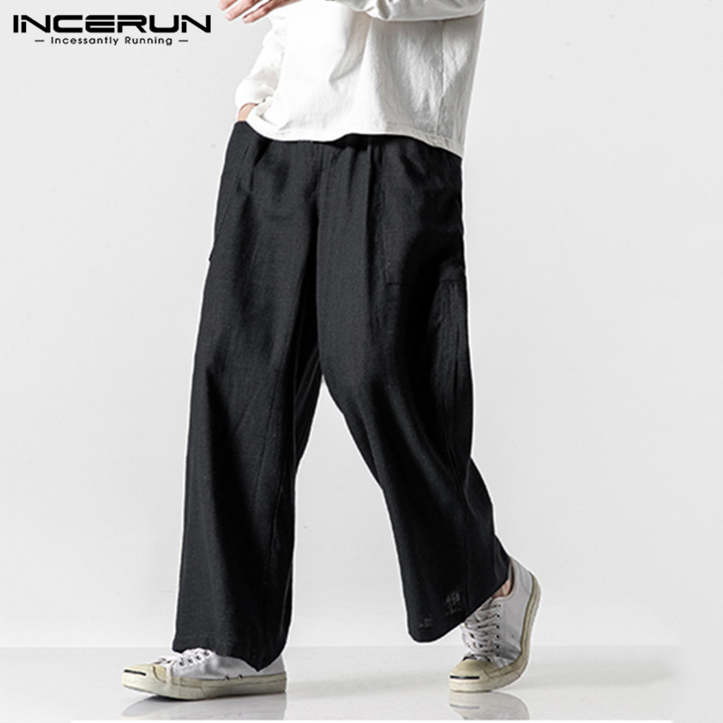 INCERUN Vintage Men Casual Wide Leg Pants Cotton Elastic Waist Pockets Joggers Retro Loose Trousers Men Street Style Long Pants