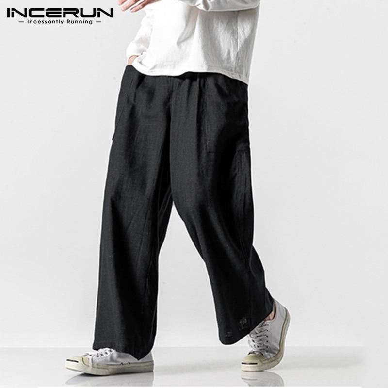 INCERUN Vintage Men Casual Wide Leg Pants Cotton Elastic Waist Pockets Joggers Retro Loose Trousers Men Street Style Long Pants