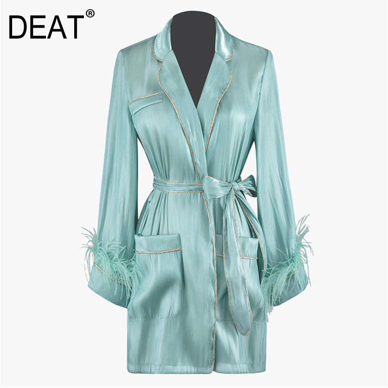 DEAT 2020 New Spring Fashion Women Clothes Turn-down Collar Flare Sleeves Fur Patchwork Organza Cardigan With Belt WK41906L