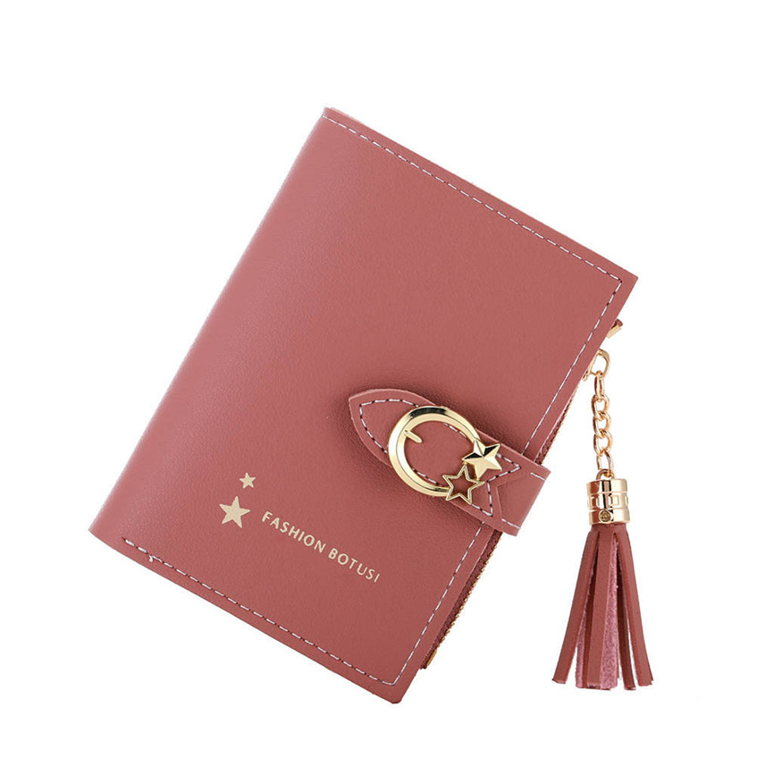 Wallet Female Vintage Women's Buckle Wallet Tassel Two Fold Coin Purse Card Package Wallet Simple Luxury Multi-card Position A3