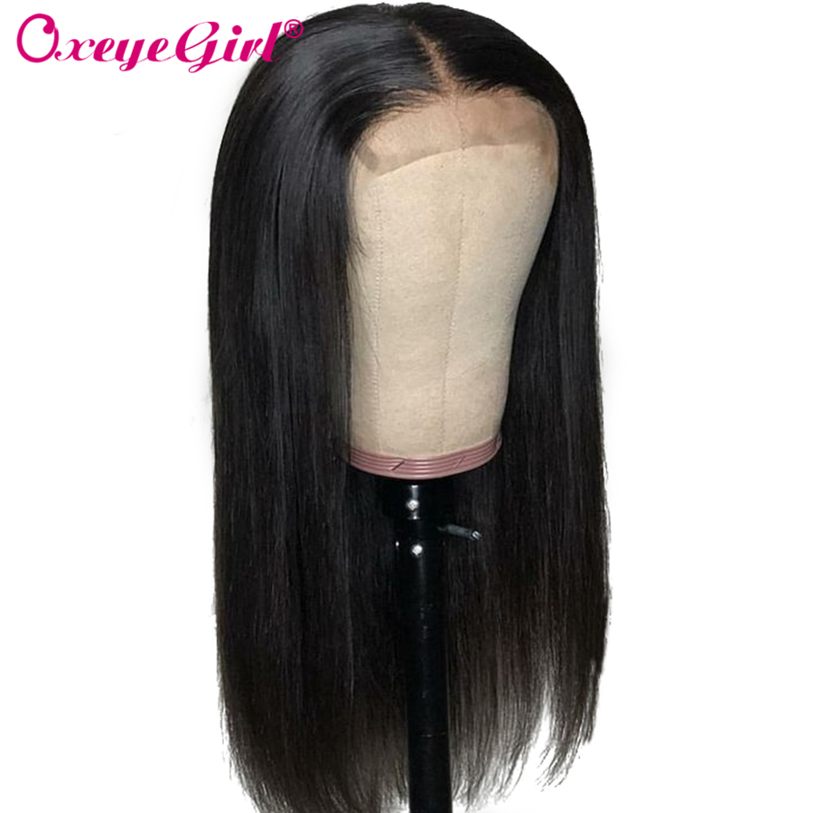 Oxeye Girl 4x4 Lace Closure Wig Brazilian Human Hair Wigs 2x6 Kim K Straight  Wig For Black Women Remy Hair