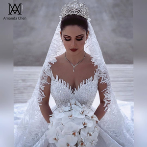 Image 2 - abendkleider Long Sleeve Lace Appliques Dubai Luxury Wedding Dress