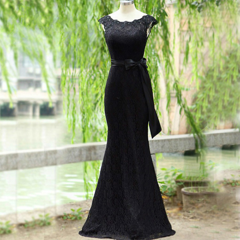 Long Evening Dress Lace Black Belt Bow O-neck Sleeveless None Train Formal Dresses Woman Prom Gown Plus Size