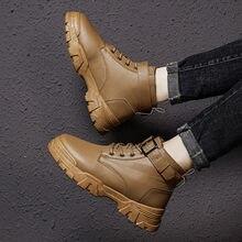 Мужские кожаные ботильоны; Обувь на платформе; повседневные