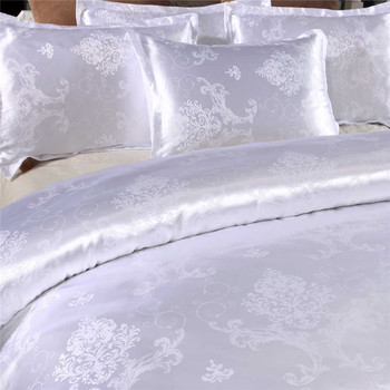 2020 New Satin Jacquard Bedding Set Luxury Solid European Style 2/3 Pieces Duvet Cover Pillowcases for Queen King Bed Size