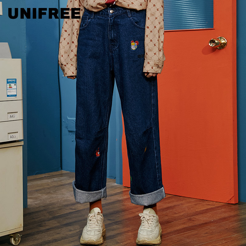 Schucker And Beta Jointly Named Unifree Jeans Women's Straight Tube Loose 2019 New Slim Show Climax Ins U201P033C1C1