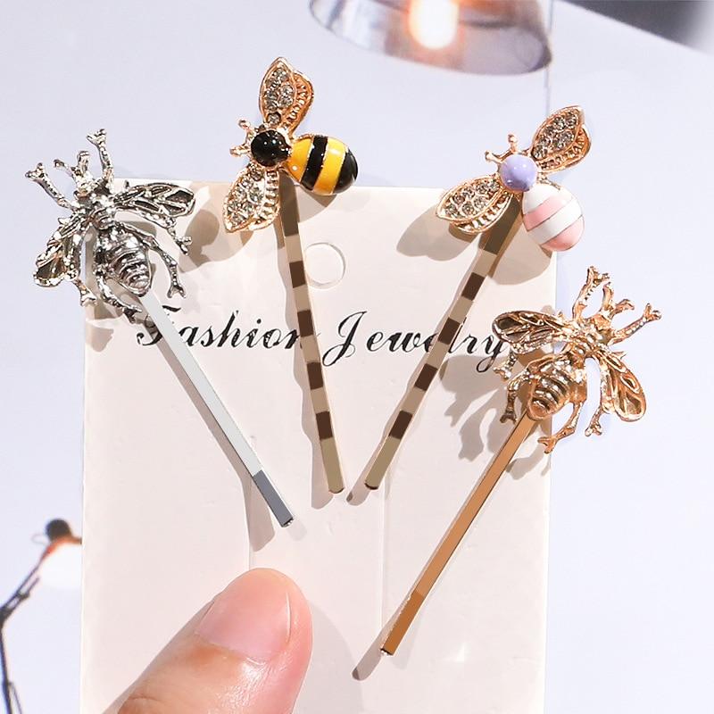 1Pcs Kawaii Mini Bee Diamond Metal Hair Clip Hairband Comb Bobby Pin Barrette Hairpin Headdress Accessories Beauty Styling Tools