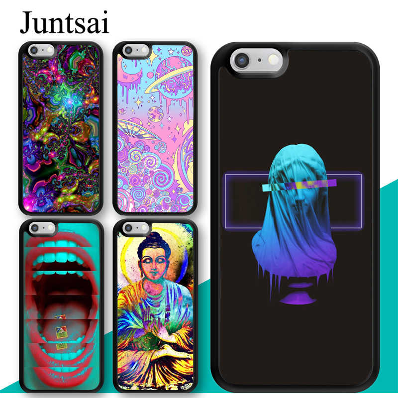 Neon Psychedelic Trippy Buddha Art Case For iphone 11 12 Pro Max mini XR XS MAX X 5S SE 2020 6S 7 8 Plus Cover Coque