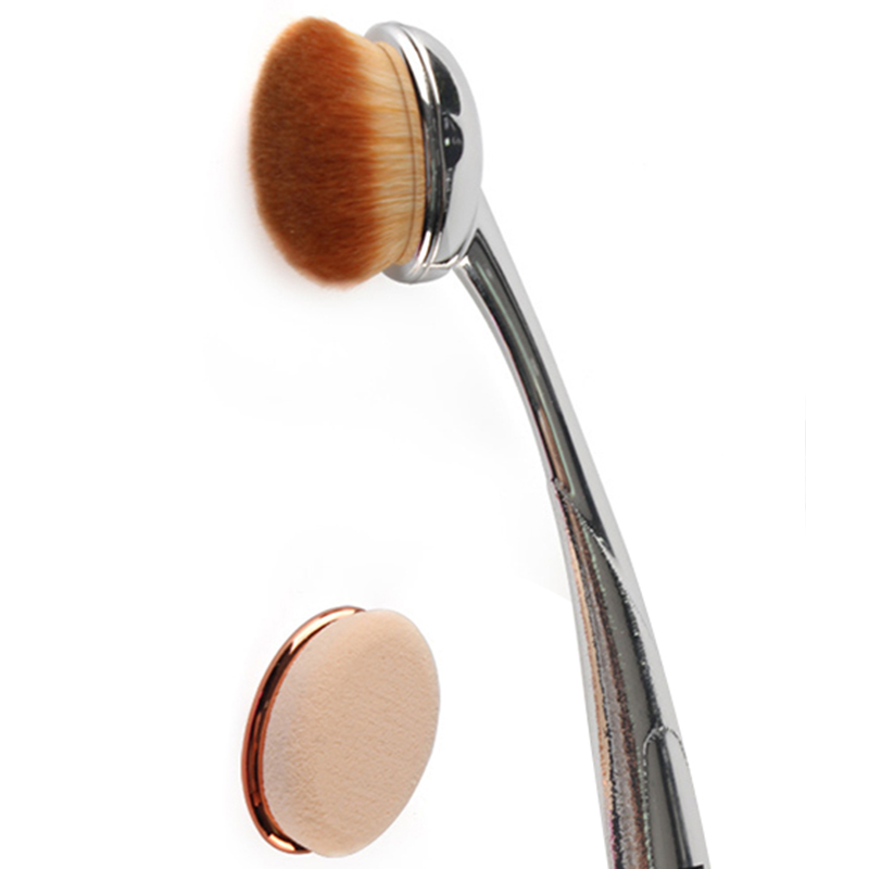 Single Makeup Brushes + Makeup Sponge Head Big Toothbrush Blending Foundation Powder Make up Brushes Tools Professional Brush image