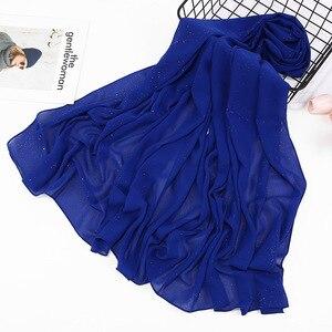 Image 5 - 2020 düz renk ilkbahar yaz Glitter şifon eşarp kadınlar için pırıltılı şal müslüman kafa saç başörtüsü eşarp Bufanda Mujer