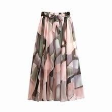 TFETTERS 22 Color Chiffon Floral Long Skirt Spring/summer 2020 New Bohemian Skirt Long High Waist Beach Skirt Womens Clothing