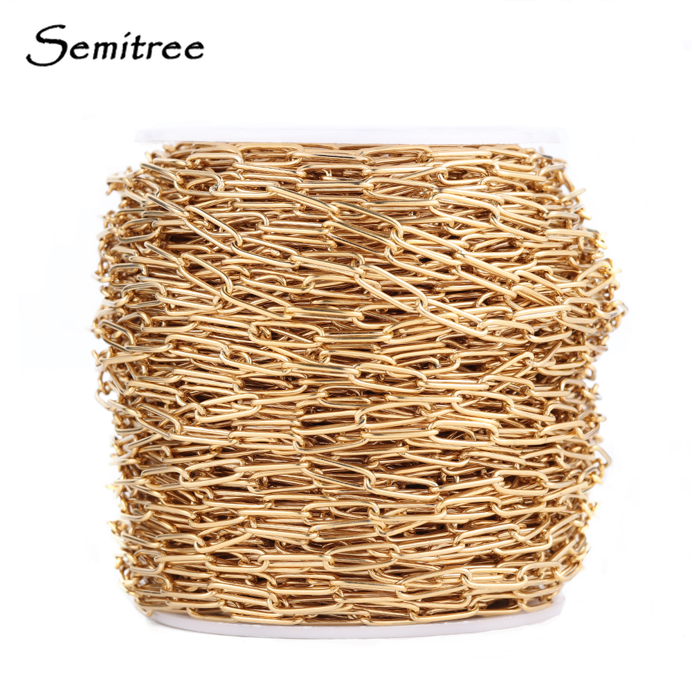 Semitree 1 Meter Stainless Steel Chain Gold Oval Link Bulk Chains DIY Wallet Chain Jewelry Necklace Making Handmade Accessories(China)