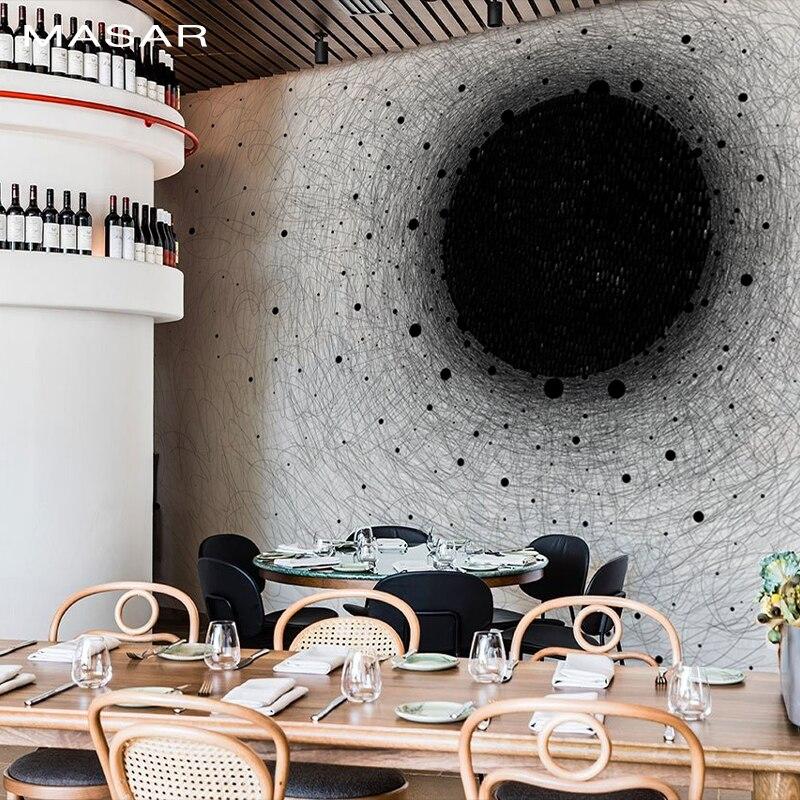 MASAR Original Minimalist Black-and-white Custom Mural Living Room Living Room Dining Room Hall Background Wall Wallpaper