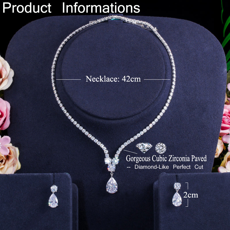 CWWZircons Fashion Cubic Zirconia Water Drop Pendant Necklace and Earrings Bridal Wedding Jewelry Sets for Brides Party T397 6