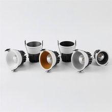 Luzes de iluminação interior recesso regulável do ponto do teto do diodo emissor de luz da espiga do anti brilho 7w 9w/12w/15