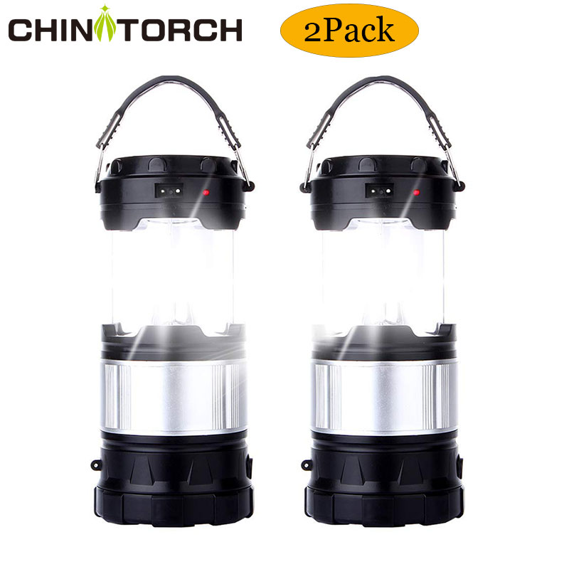 2 Pack Outdoor Camping Lamp Portable Rechargeable Solar LED Camping Light Lantern Handheld Flashlight with USB Charger Tent Lamp