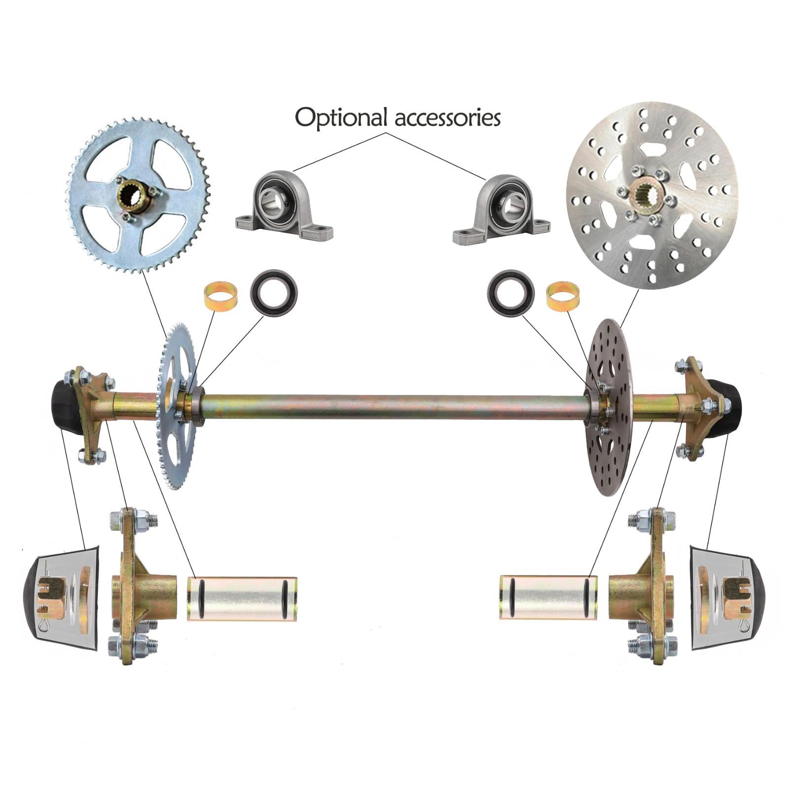 "32/"" Go Kart Complete Rear Axle Kit Disc Rotor Wheel Hub Sprocket ATV Off-Road US"