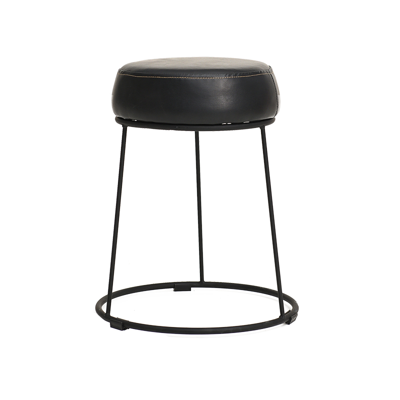 Household iron small stool leather art creative dining stool simple dining table stool fashion round stool makeup stool фото