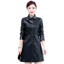 Women Faux Leather Jacket Plus Size 5XL 2019 Autumn Washed PU Trench Winter Long Black Coats Female Sheepskin Outerwear