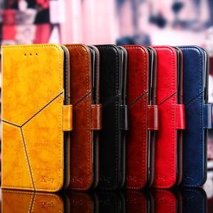 Image 2 - Pour Apple iPhone 11 Pro XS Max XR X 8 7 6S 6plus luxe Vintage rétro géométrique épissage rabat en cuir étui de téléphone support couverture