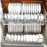 Cortina keuken prato escorredor pantries organizador de aço inoxidável cocina cozinha armário cestas para organizar cesta