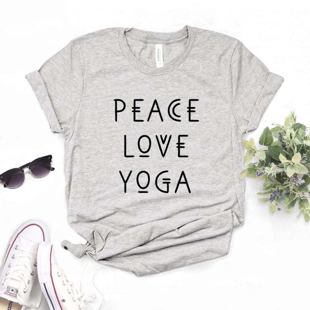 Женская футболка с принтом peace love yoga, хлопковая Повседневная футболка с забавным принтом для девушек, хипстерский Топ для девушек, 6 цветов, для женщин и девочек|Футболки| | АлиЭкспресс