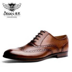 Image 1 - DESAI ماركة الحبوب الكاملة جلد الرجال أكسفورد أحذية النمط البريطاني الرجعية منحوتة بولوك الرسمي الرجال فستان أحذية حجم 38 47