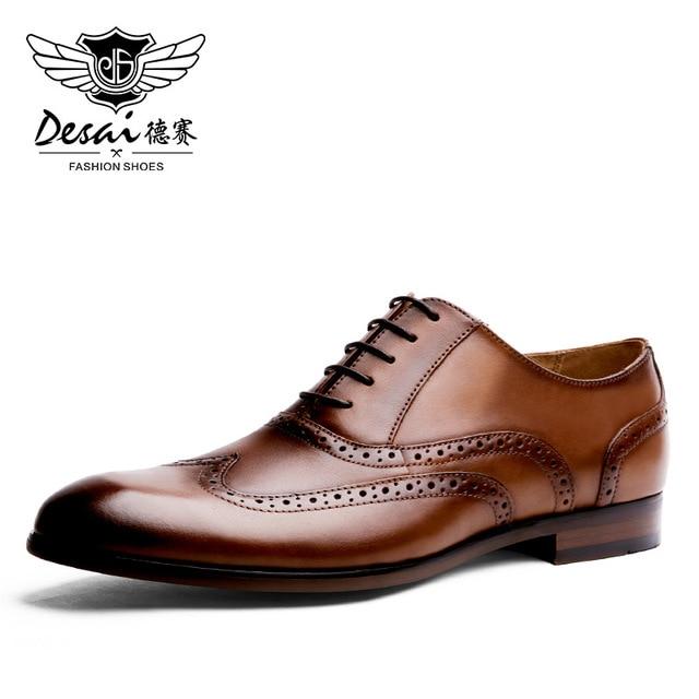 DESAI ماركة الحبوب الكاملة جلد الرجال أكسفورد أحذية النمط البريطاني الرجعية منحوتة بولوك الرسمي الرجال فستان أحذية حجم 38 47