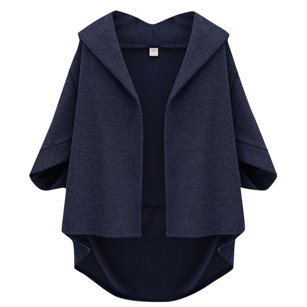 JAYCOSIN Ladies Fashion Large Size Woolen Coat Seven-point Sleeves Bat Sleeves Casual Solid Color Popular Jacket Daily Wild