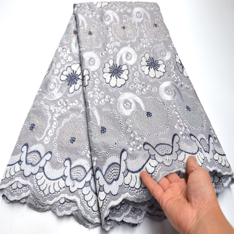 Image 2 - Newest White African cotton Lace Fabric high quality 2019 Swiss 