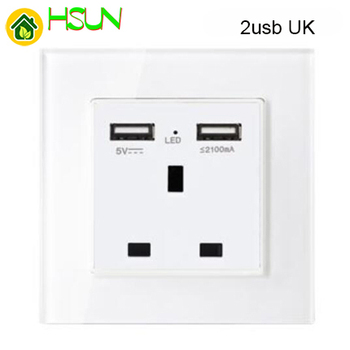 86 type White tempered glass reset toggle switch 1 2 3 4 gang 1 2 way retro hotel creative switch USB France Germany UK socket 23