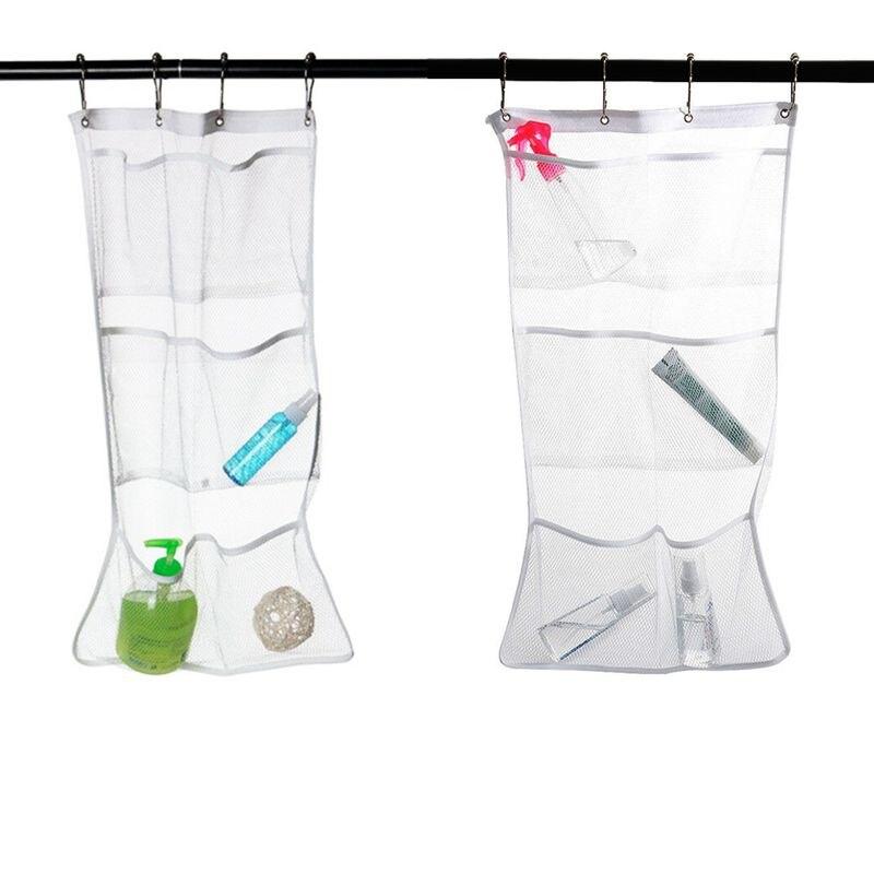 Women Bags Mesh Shower Organizer  Caddy Curtains Organizer Bathroom Tub Hanging Mesh Caddy Storage Bag /BY