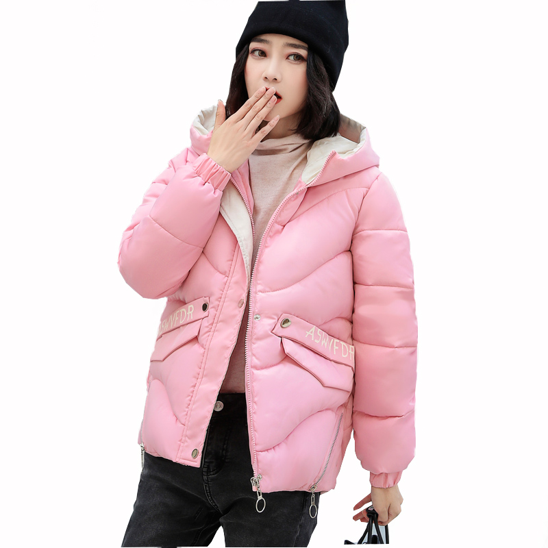 2019 New Women  Winter Coat Parkas  Casual  Warm Coat Female Hooded Long Sleeve Down Cotton Jackets Women Wide-Waisted Jacket