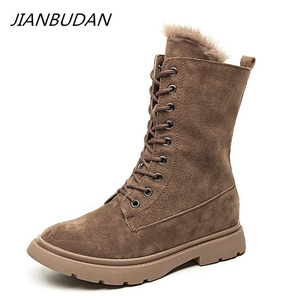 JIANBUDAN Genuine Leather Winter motorcycle boots Plush fur warm Women's snow boots Mid Calf boots New product women's shoes