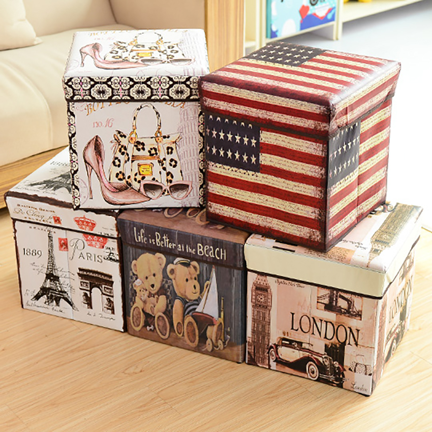 Foldable Storage Ottoman Square Cube Coffee Table Multipurpose Footrest Stool For Bedroom And Living Room Storage 30x30cm